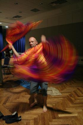 Spinning cloth at the Yoga Mala Concert