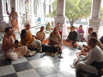 Aindra das leads the 24 Hour Kirtan in Vrindavan India