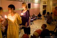 Offering lamps for the special spiritual month of Kartik