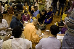 HH Radhanath Swami signing his newly published book, The Journey Home