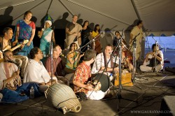 Performing on stage with special guests, Bada Hari, Purusartha, Jaya Sita, and the Krishna Culture Festival Tour crew.