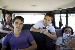 A multitude of things to do while we drive: stare out the window, look bored, make long phone calls, read (sleep). L-R Akincana, Kish, Bali and Vish.