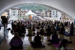 The tent starts to fill up during Jai Uttal's kirtan at Wanderlust